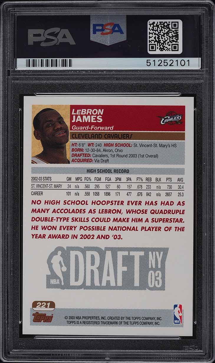 2003 Topps 1st Edition LeBron James ROOKIE RC #221 PSA 10 GEM MINT - Image 2