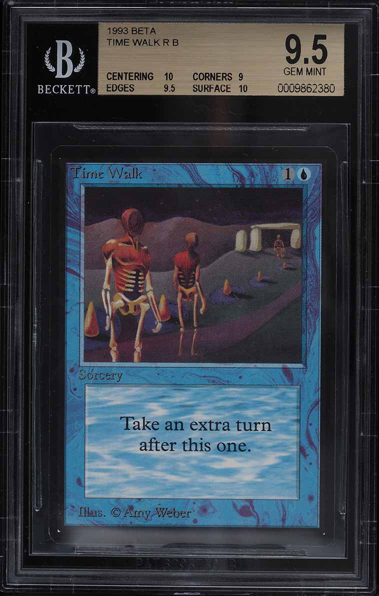 1993 Magic The Gathering MTG Beta Time Walk R B BGS 9.5 GEM MINT - Image 1