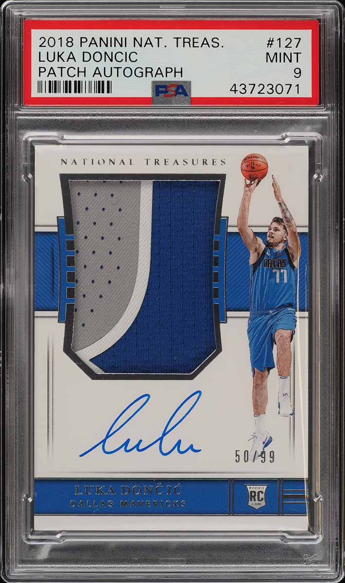 2018 National Treasures Luka Doncic ROOKIE RC PATCH AUTO /99 #127 PSA 9 (PWCC) - Image 1