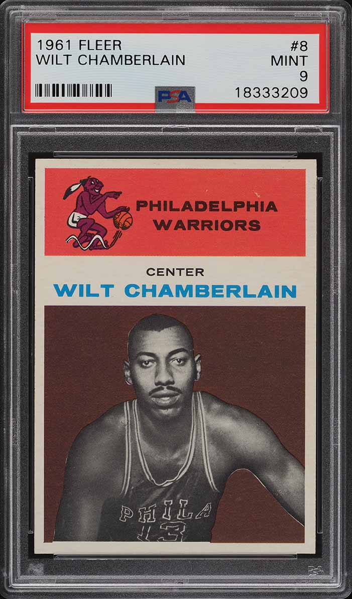 1961 Fleer Basketball Wilt Chamberlain ROOKIE RC #8 PSA 9 MINT (PWCC-A) - Image 1