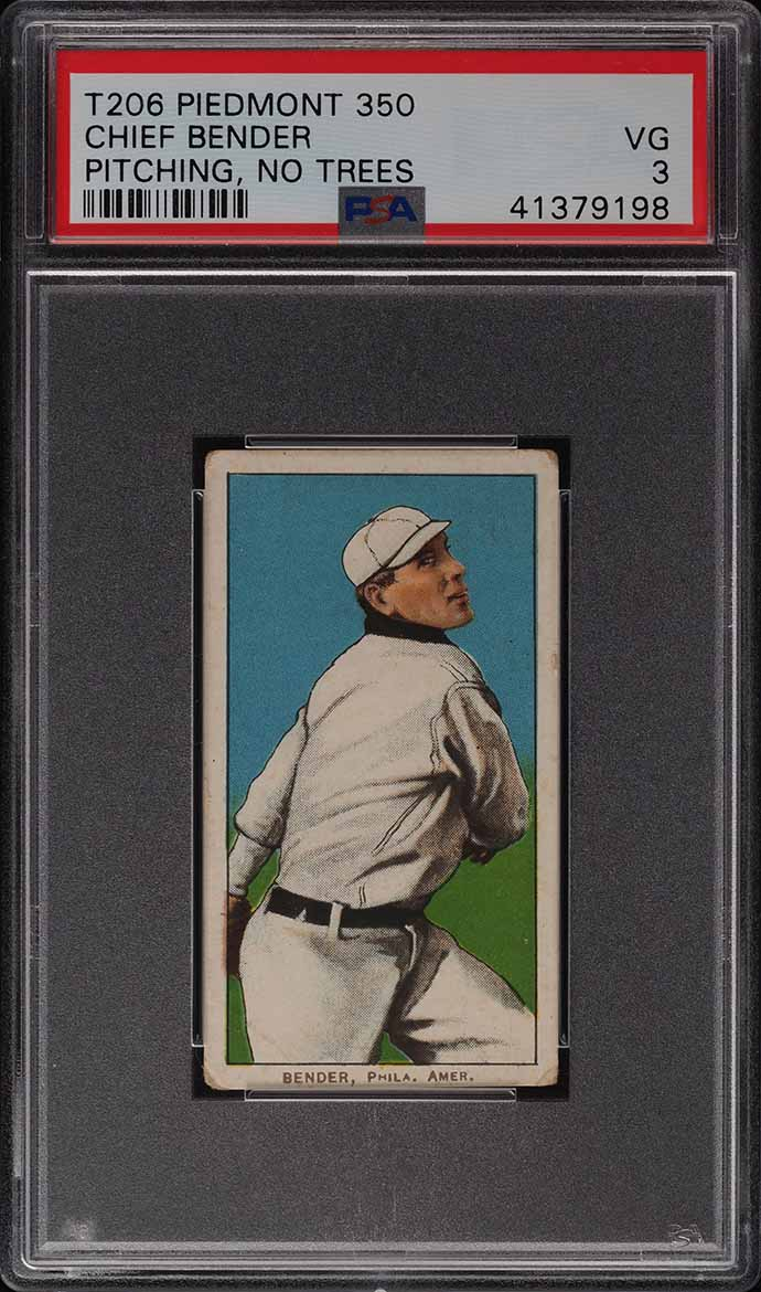1909-11 T206 Chief Bender PITCHING NO TREES PSA 3 VG - Image 1