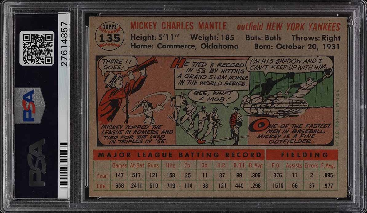 1956 Topps Mickey Mantle #135 PSA 8.5 NM-MT+ - Image 2