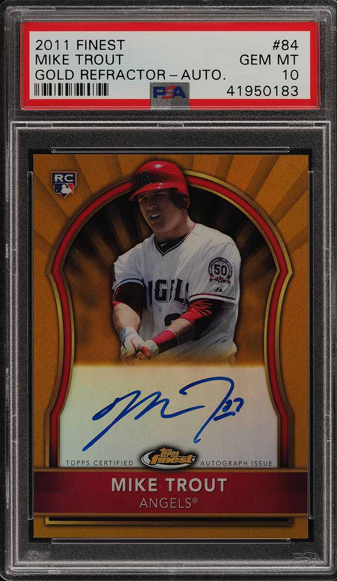 2011 Finest Gold Refractor Mike Trout ROOKIE RC AUTO /75 #84 PSA 10 GEM (PWCC) - Image 1
