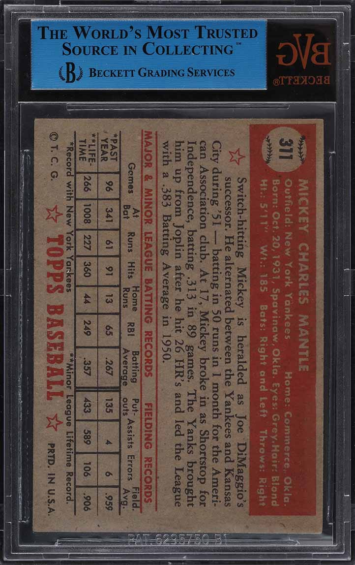 1952 Topps Mickey Mantle #311 BVG Auth  - Image 2