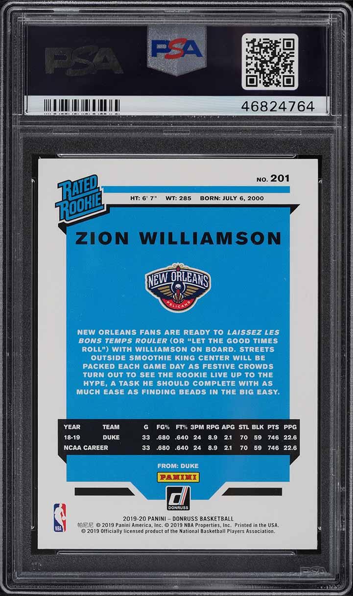 2019 Donruss Basketball Zion Williamson ROOKIE RC #201 PSA 10 GEM MINT - Image 2