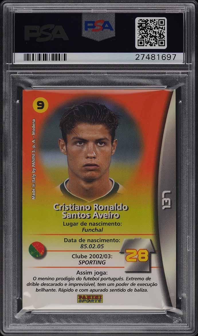 2003 Panini Sports Mega Craques Cristiano Ronaldo ROOKIE RC #137 PSA 10 GEM MINT - Image 2