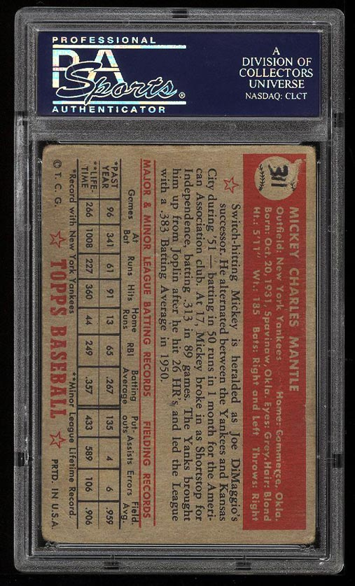 1952 Topps Mickey Mantle #311 PSA AUTH (PWCC) - Image 2