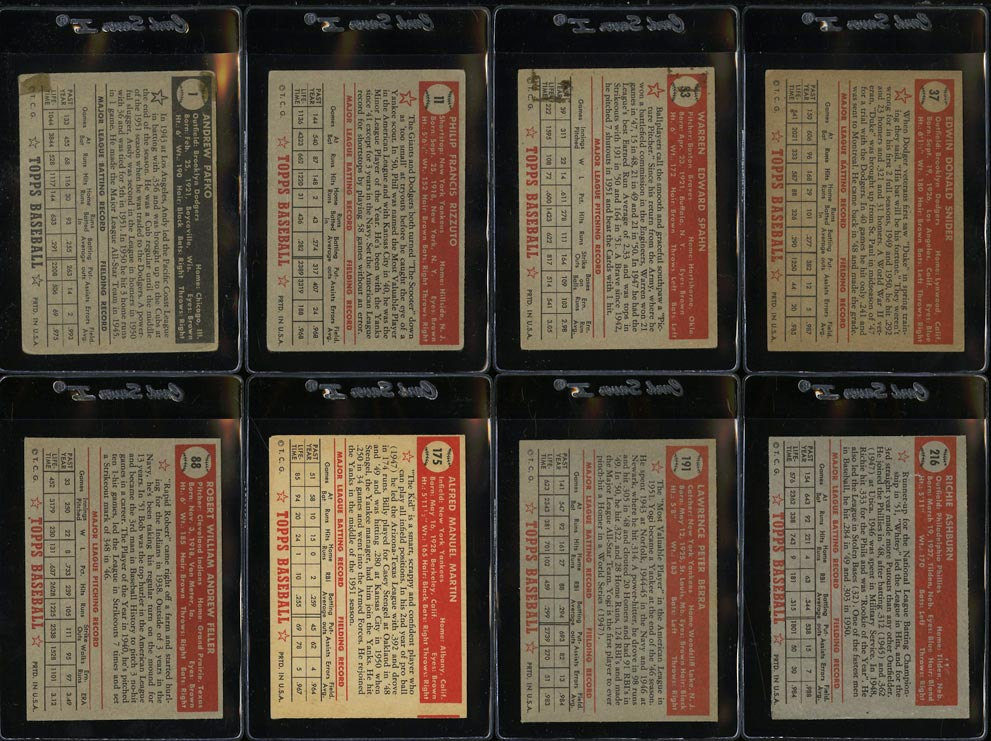 1952 Topps Lo-Mid Grd COMPLETE SET Mays Mathews Berra Robinson Mantle PSA (PWCC) - Image 4