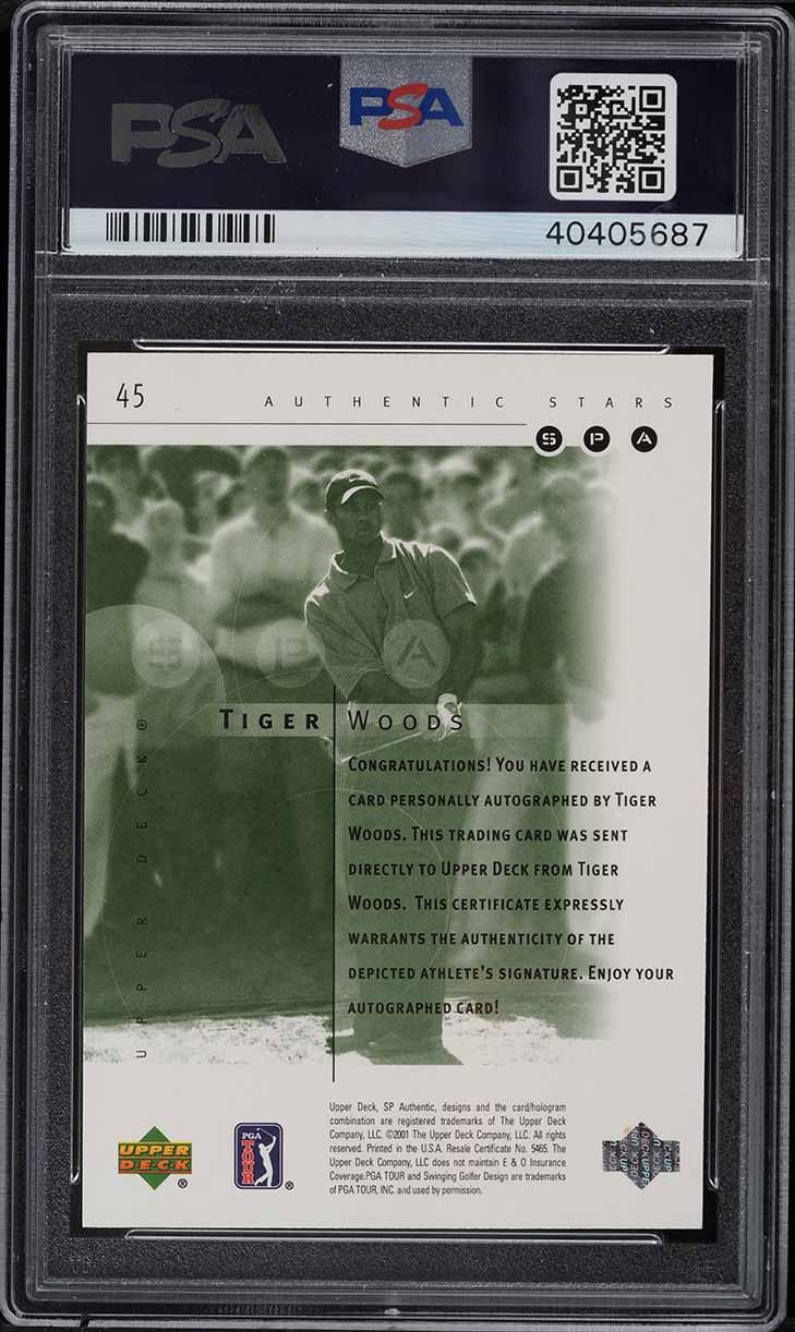 2001 SP Authentic Golf Tiger Woods ROOKIE RC PSA/DNA 10 AUTO #45 PSA 10 GEM MINT - Image 2