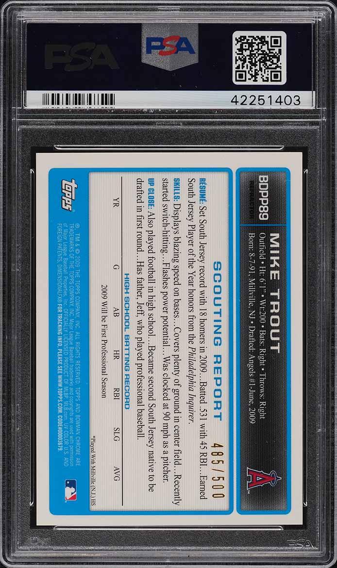2009 Bowman Chrome Refractor Mike Trout ROOKIE RC AUTO /500 #BDPP89 PSA 8 NM-MT - Image 2