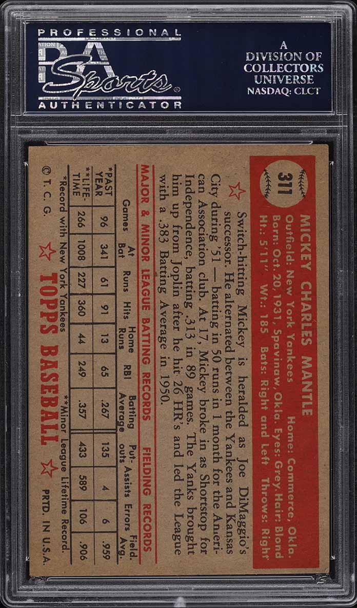1952 Topps Mickey Mantle #311 PSA 7 NRMT (PWCC) - Image 2