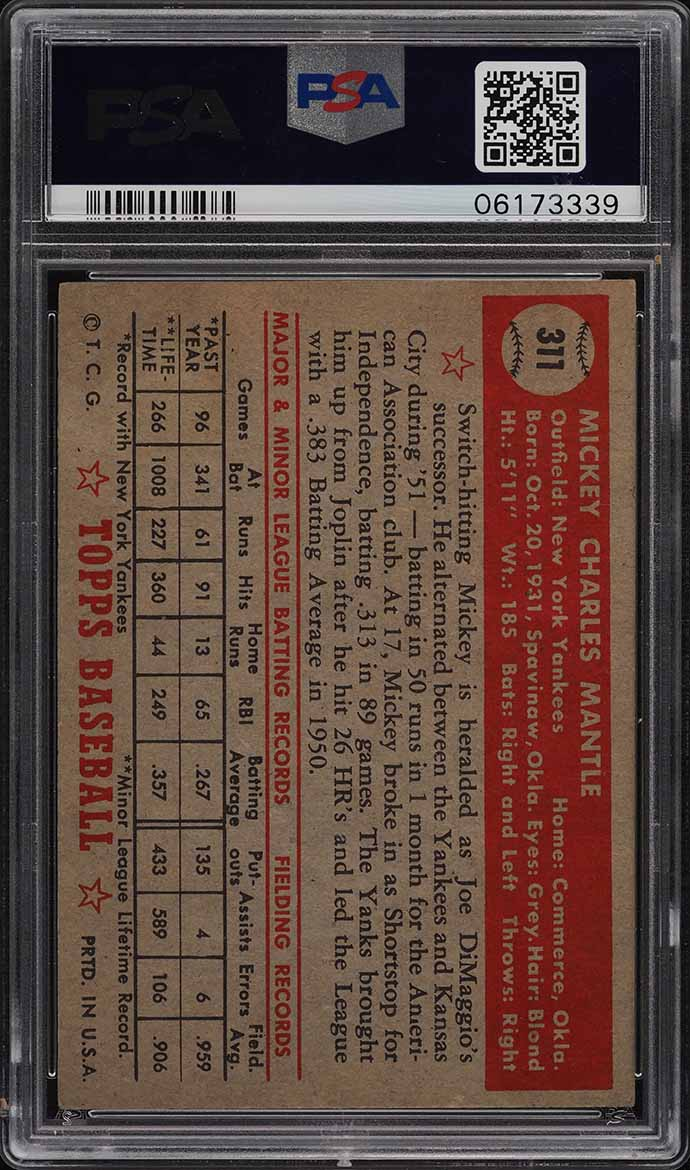 1952 Topps Mickey Mantle #311 PSA 4 VGEX - Image 2