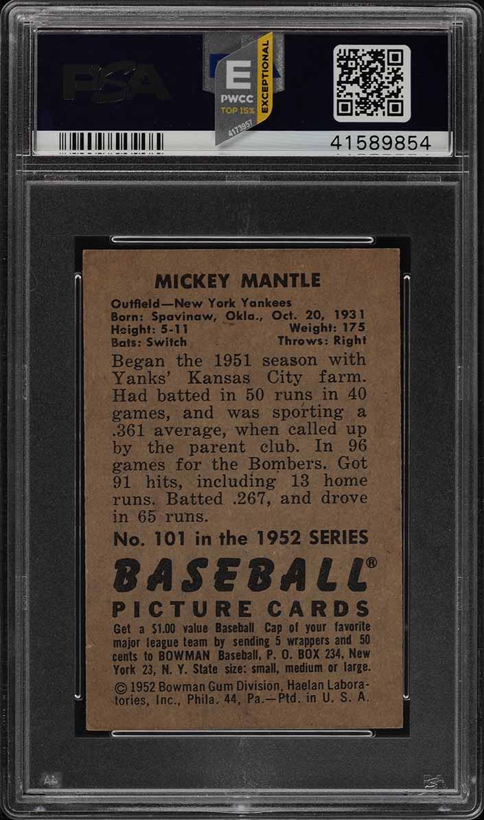 1952 Bowman Mickey Mantle #101 PSA 5 EX (PWCC-E) - Image 2