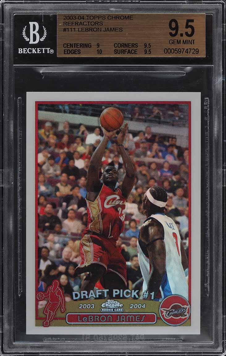 2003 Topps Chrome Refractor LeBron James ROOKIE RC #111 BGS 9.5 GEM MINT (PWCC) - Image 1