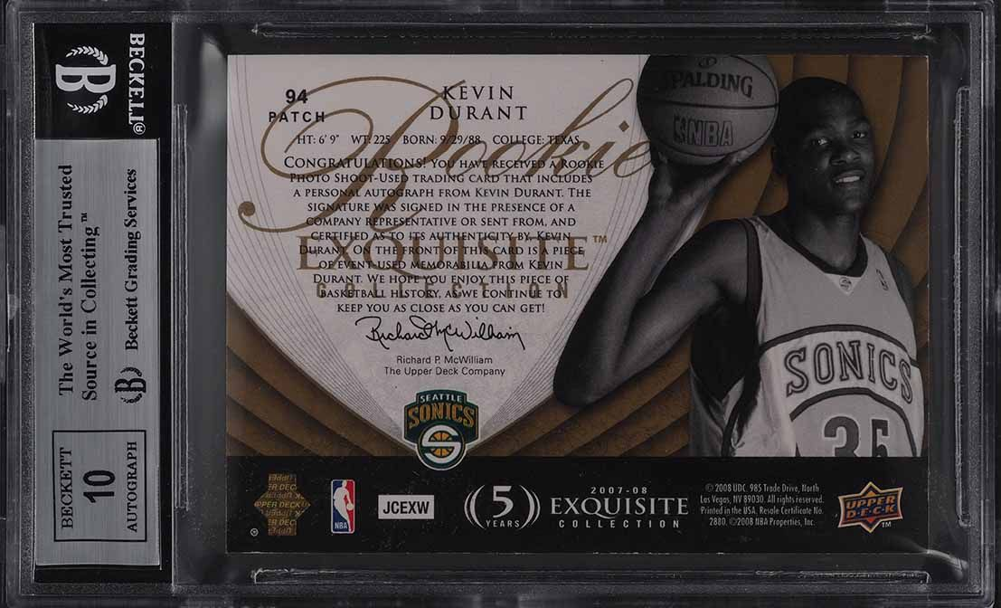 2007 Exquisite Parallel Kevin Durant ROOKIE PATCH AUTO /35 BGS 8.5 NM-MT+ (PWCC) - Image 2