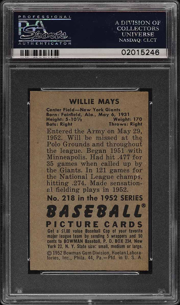 1952 Bowman SETBREAK Willie Mays #218 PSA 8 NM-MT (PWCC) - Image 2