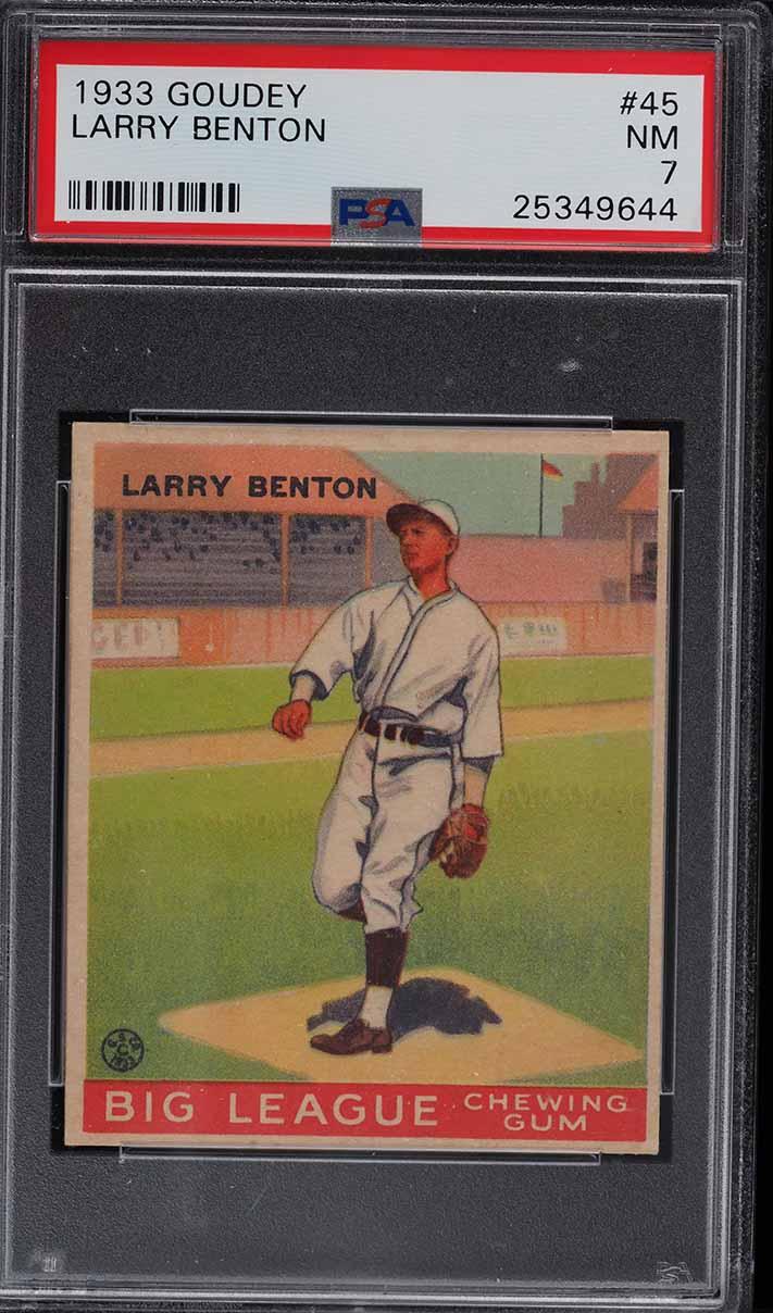 1933 Goudey Larry Benton #45 PSA 7 NRMT - Image 1
