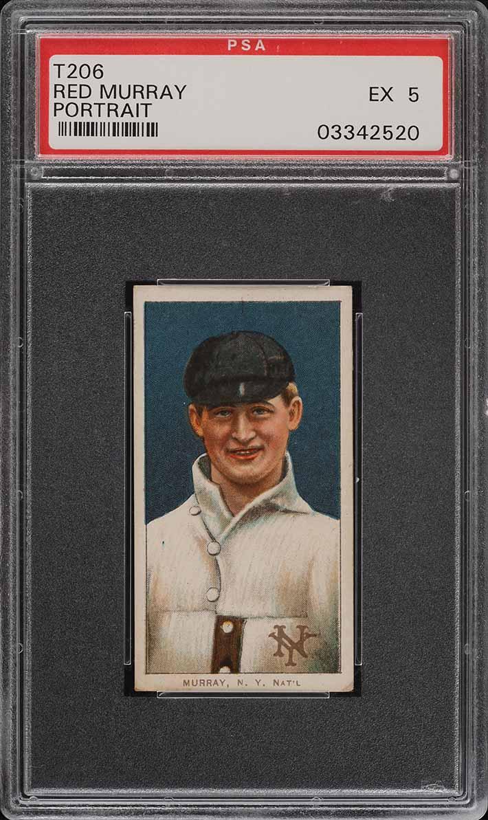 1909-11 T206 SETBREAK Red Murray PORTRAIT, SC FACTORY 42 PSA 5 EX (PWCC) - Image 1