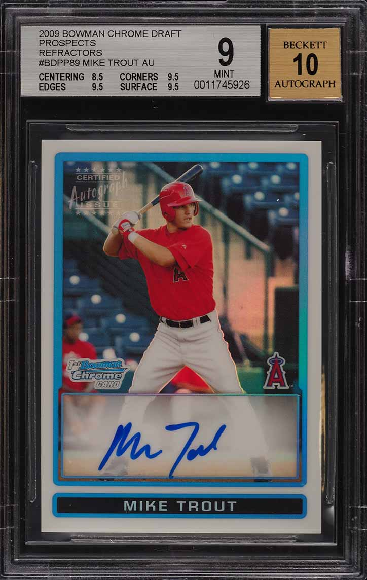 2009 Bowman Chrome Refractor Mike Trout ROOKIE RC AUTO /500 BGS 9 MINT (PWCC) - Image 1