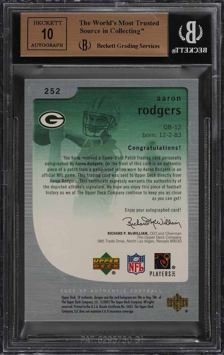2005 SP Authentic Gold Aaron Rodgers ROOKIE RC AUTO PATCH /25 BGS 9.5 GEM (PWCC) - Image 2
