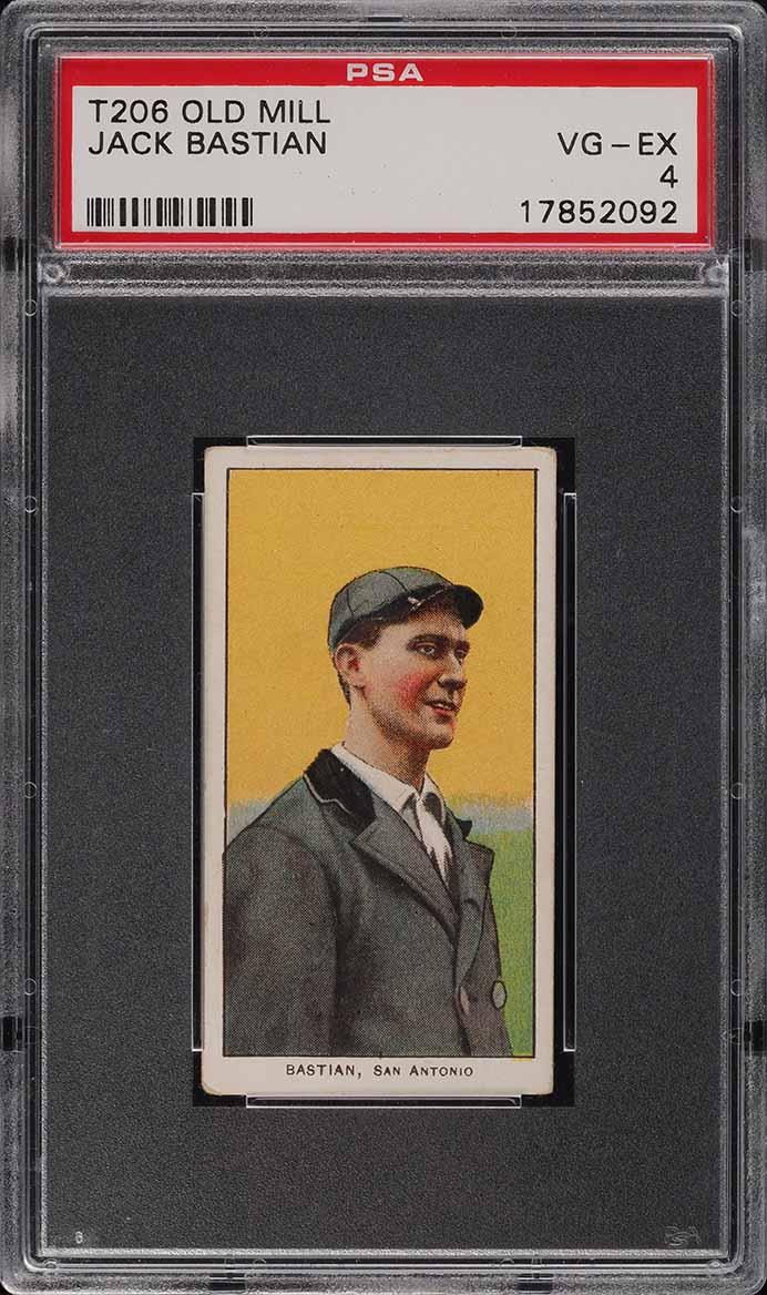 1909-11 T206 SETBREAK Jack Bastian SOUTHERN LEAGUER OLD MILL PSA 4 VGEX (PWCC-A) - Image 1