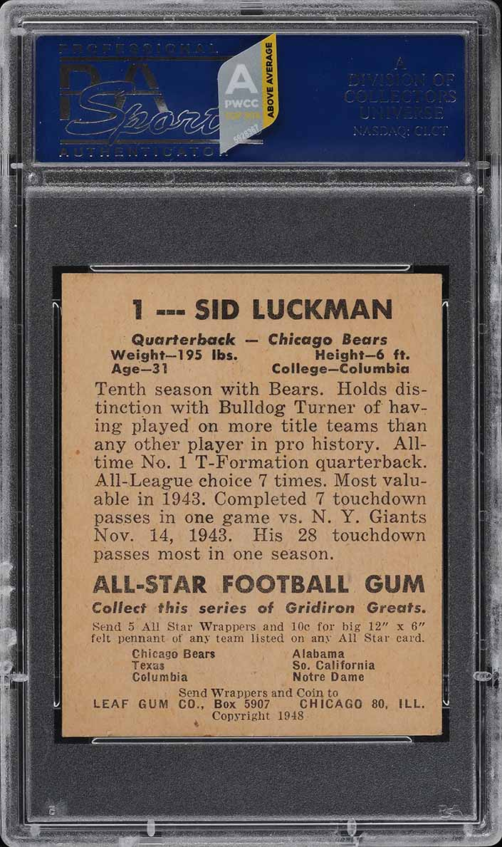 1948 Leaf Football Sid Luckman ROOKIE RC #1 PSA 5 EX (PWCC-A) - Image 2