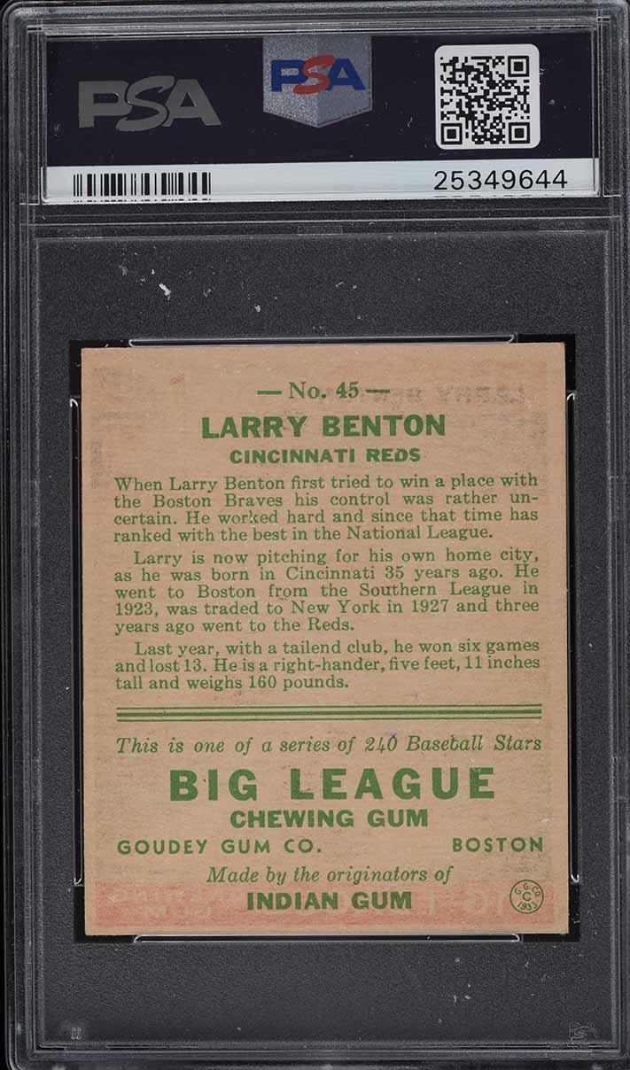 1933 Goudey Larry Benton #45 PSA 7 NRMT - Image 2