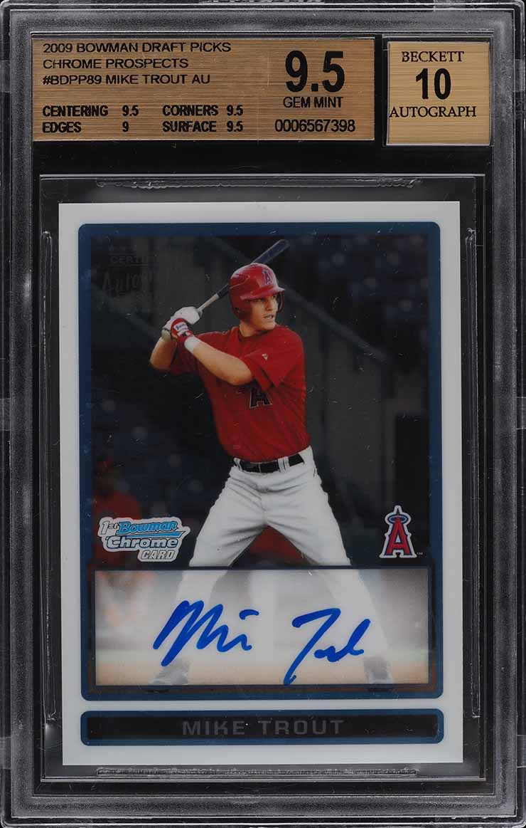 2009 Bowman Chrome Draft Mike Trout ROOKIE RC AUTO #BDPP89 BGS 9.5 GEM MINT - Image 1