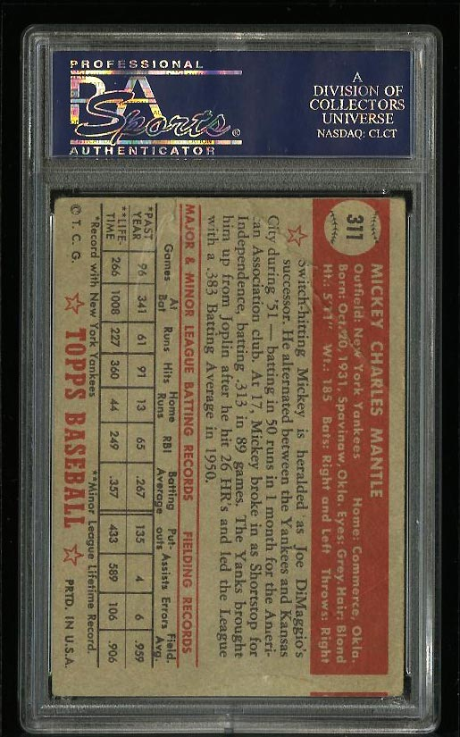 1952 Topps Mickey Mantle #311 PSA 1(mc) PR (PWCC) - Image 2