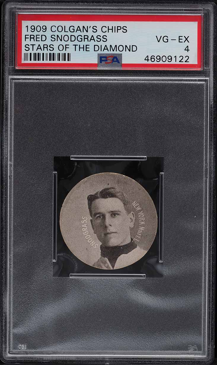 1909 Colgan's Chips Stars Of The Diamond Fred Snodgrass PSA 4 VGEX - Image 1