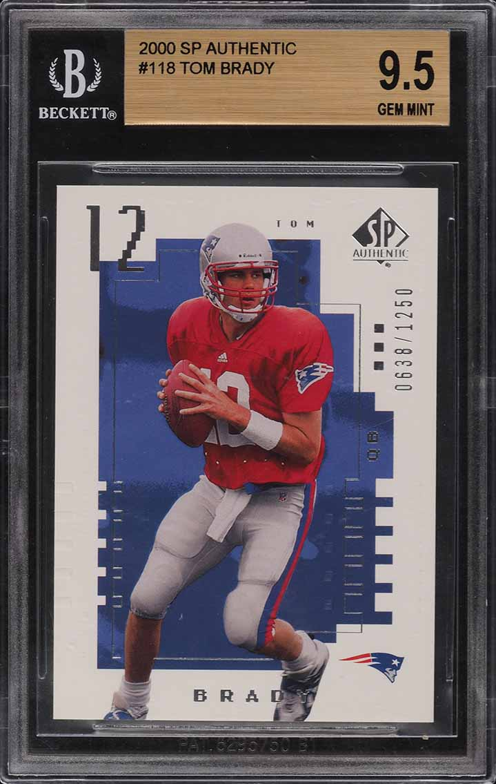 2000 SP Authentic Tom Brady ROOKIE RC /1250 #118 BGS 9.5 GEM MINT - Image 1