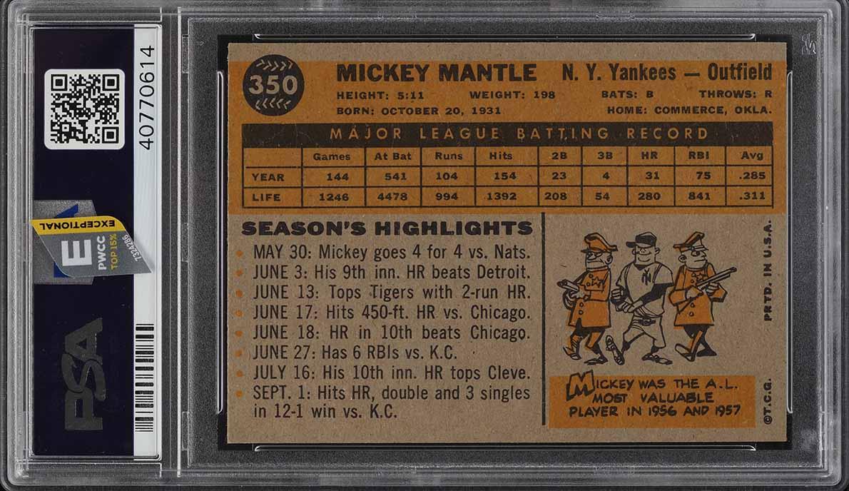 1960 Topps Mickey Mantle #350 PSA 7 NRMT (PWCC-E) - Image 2