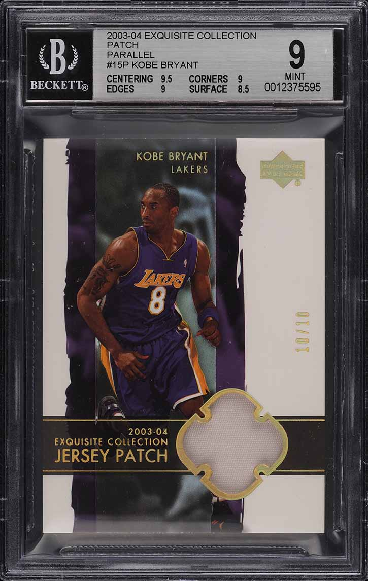 2003 Exquisite Collection Parallel Kobe Bryant PATCH 10/10 #15P BGS 9 MINT - Image 1