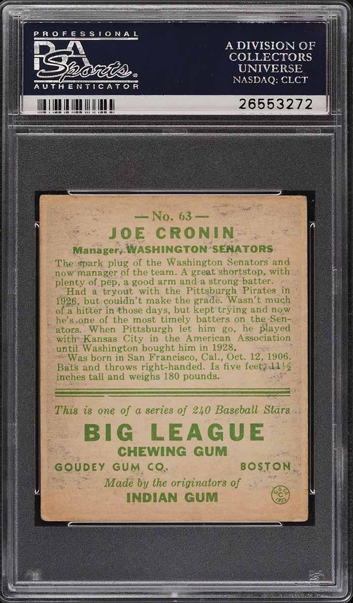 1933 Goudey Joe Cronin #63 PSA 3.5 VG+ - Image 2