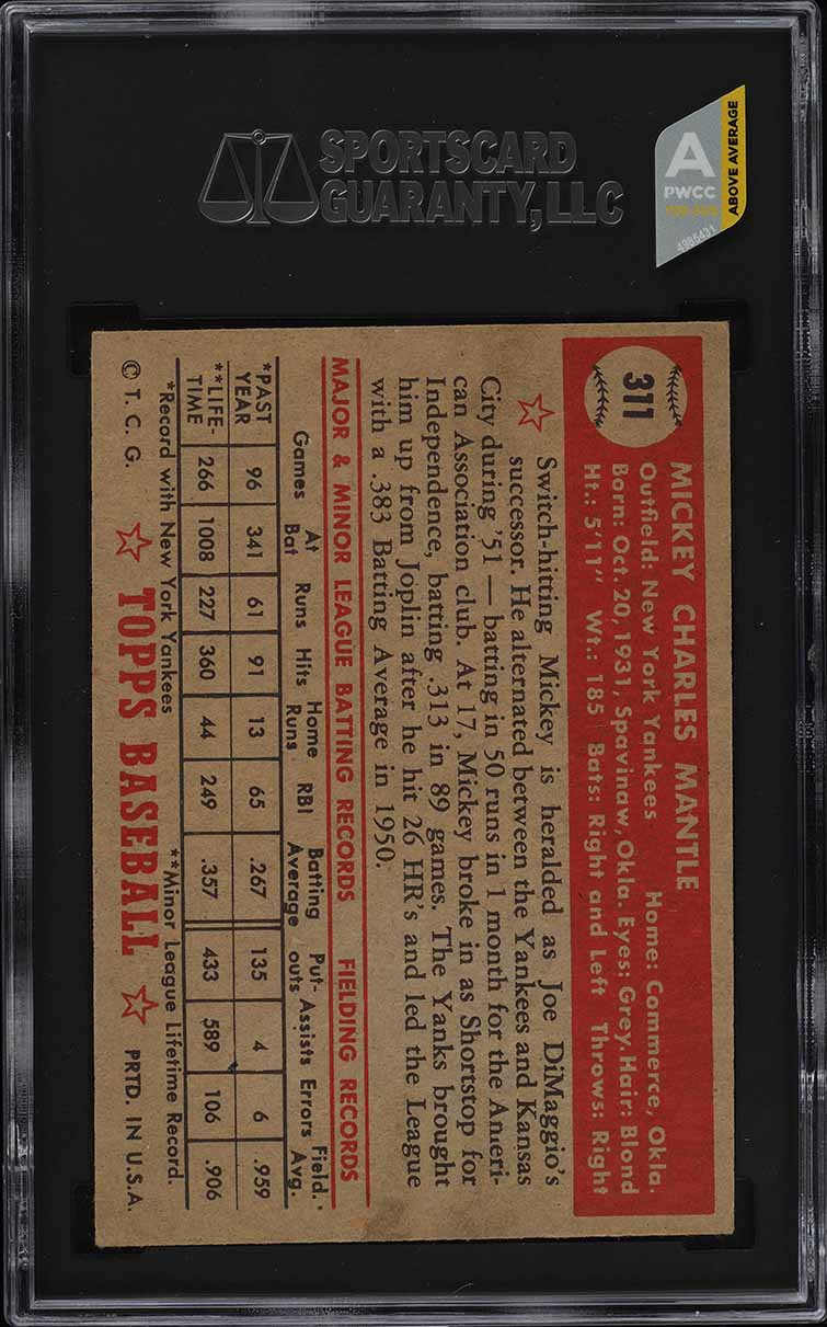 1952 Topps Mickey Mantle #311 SGC 5 EX (PWCC-A) - Image 2