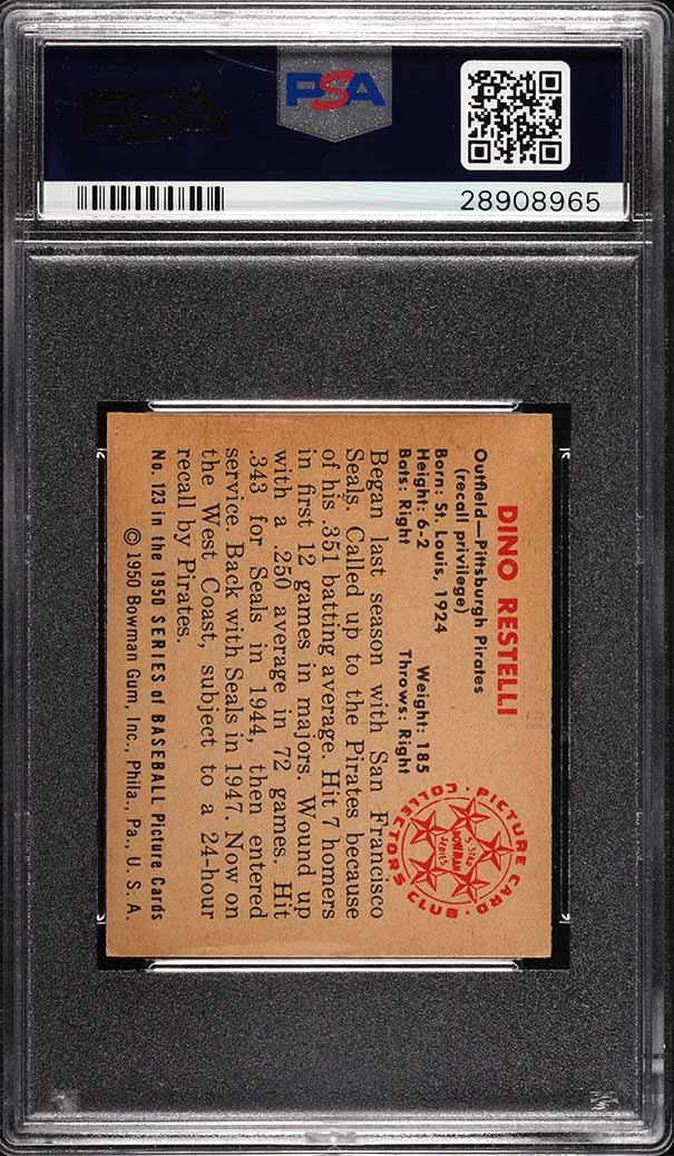 1950 Bowman Dino Restelli #123 PSA 7 NRMT (PWCC) - Image 2