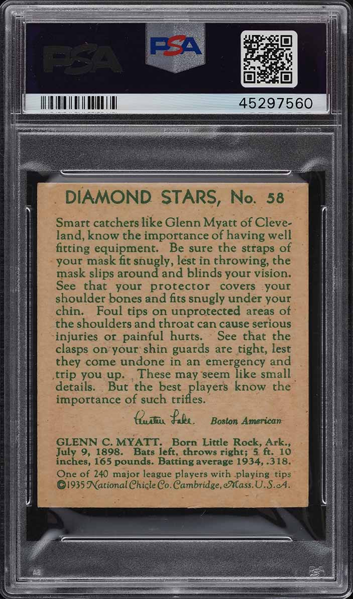 1935 Diamond Stars Glenn Myatt #58 PSA 5 EX - Image 2
