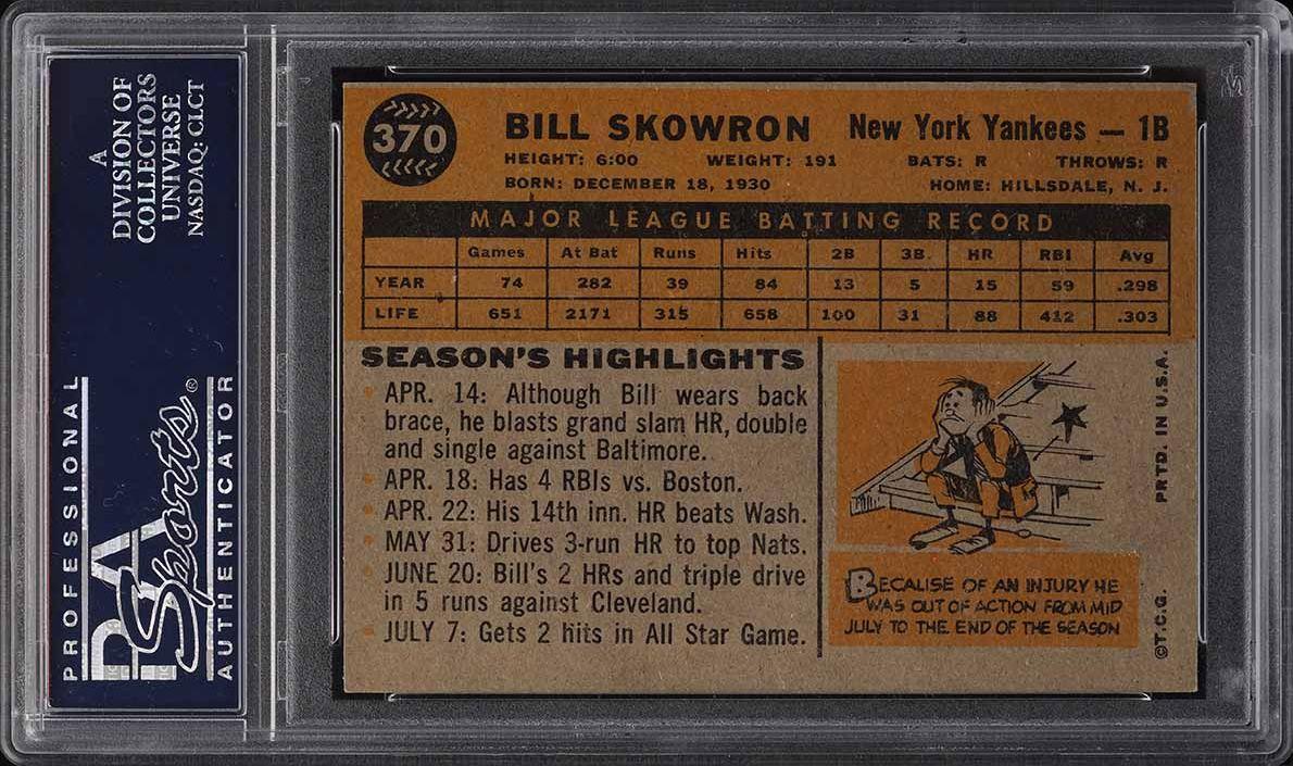 1960 Topps Bill Skowron #370 PSA 8 NM-MT - Image 2