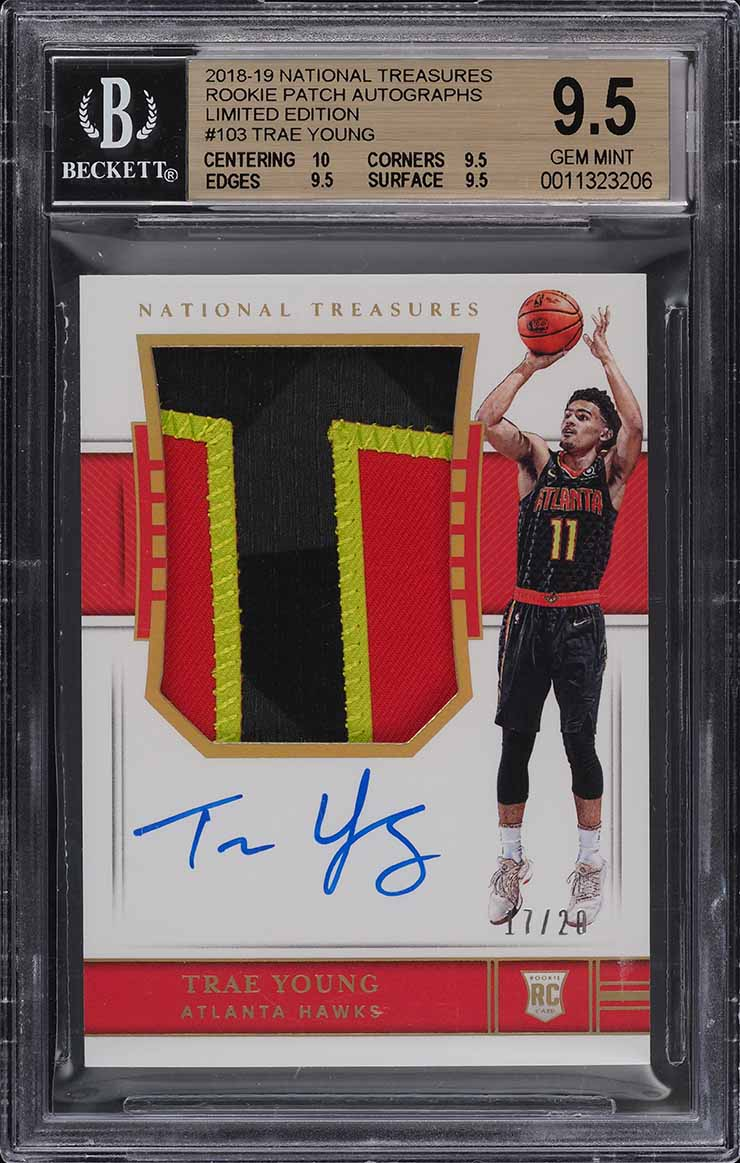 2018 National Treasures Limited Trae Young ROOKIE PATCH AUTO /20 BGS 9.5 (PWCC) - Image 1