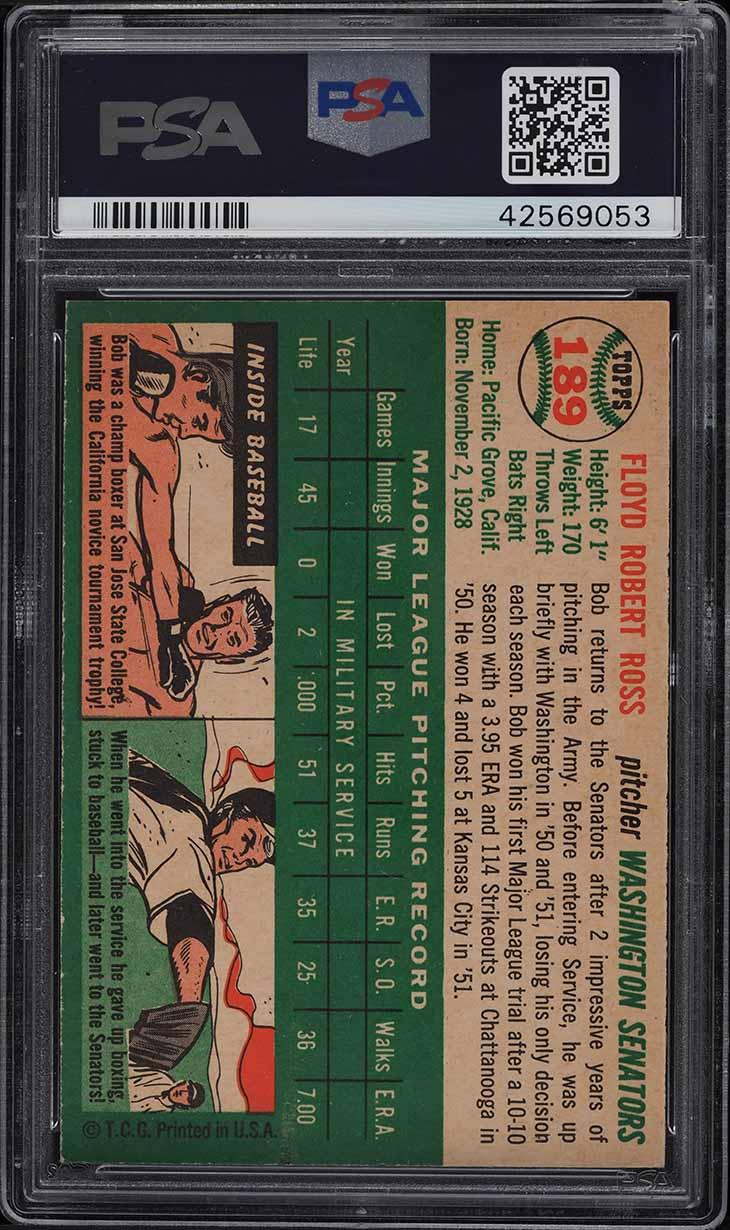 1954 Topps Bob Ross #189 PSA 8 NM-MT - Image 2