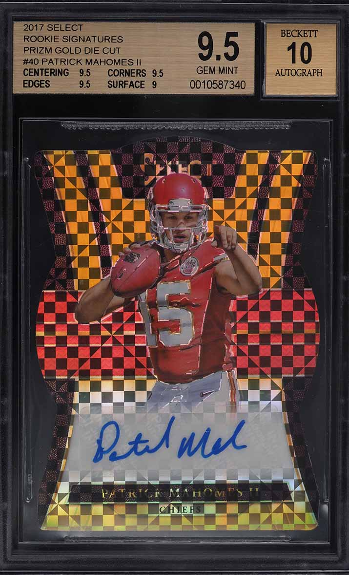 2017 Select Signature Gold Die-Cut Patrick Mahomes II ROOKIE AUTO /10 BGS 9.5 - Image 1