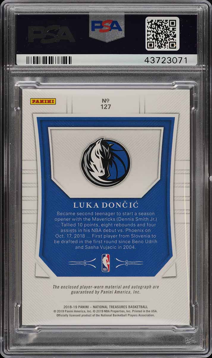 2018 National Treasures Luka Doncic ROOKIE RC PATCH AUTO /99 #127 PSA 9 (PWCC) - Image 2