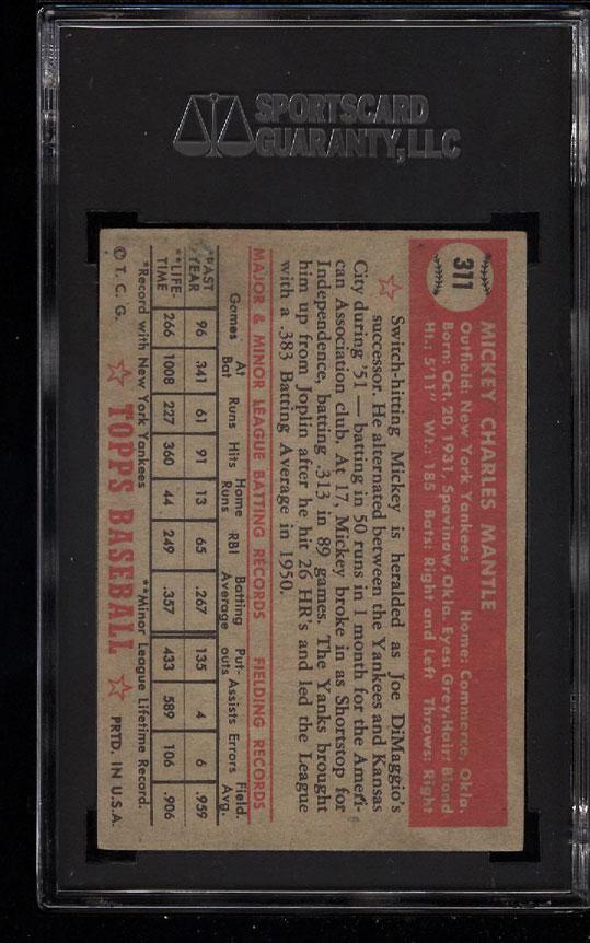 1952 Topps Mickey Mantle #311 SGC 20/1.5 FR (PWCC) - Image 2