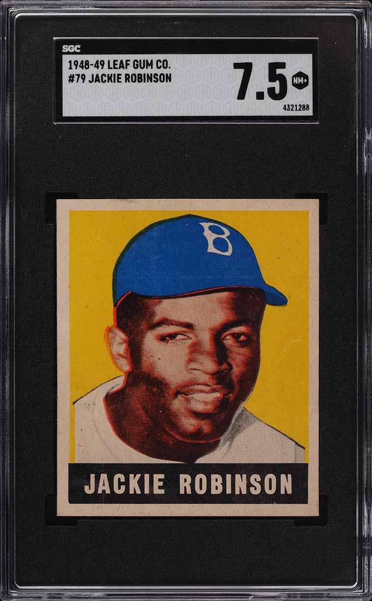 1948 Leaf Jackie Robinson ROOKIE RC #79 SGC 7.5 NRMT+ - Image 1