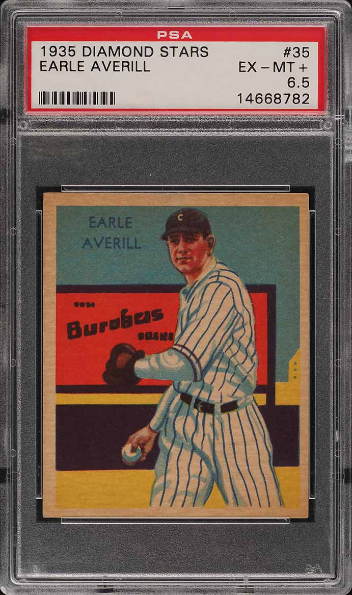 1935 Diamond Stars Earle Averill #35 PSA 6.5 EXMT+ - Image 1