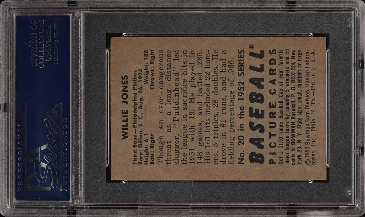 1952 Bowman SETBREAK Willie Jones #20 PSA 8 NM-MT (PWCC) - Image 2