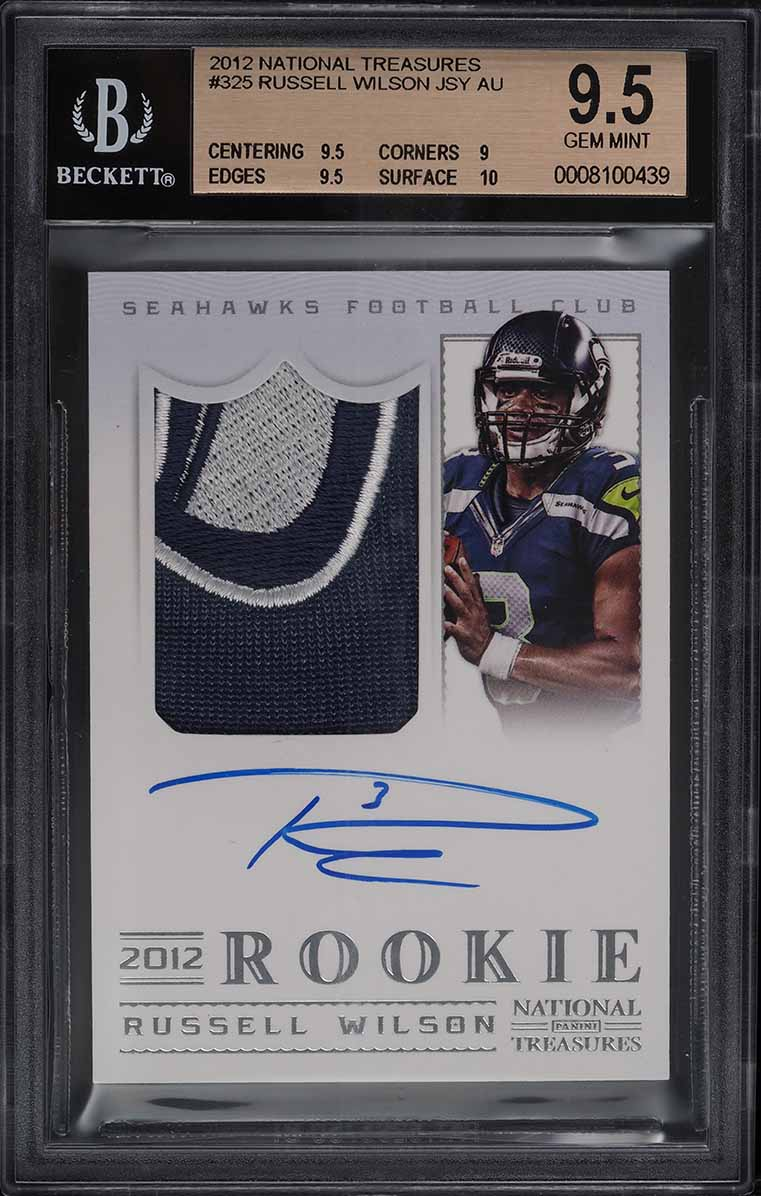 2012 National Treasures Russell Wilson ROOKIE RC PATCH AUTO /99 #325 BGS 9.5 GEM - Image 1