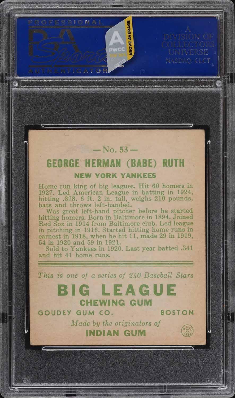 1933 Goudey Babe Ruth #53 PSA 5 EX (PWCC-A) - Image 2