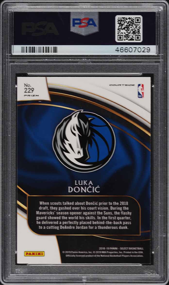2018 Select Silver Prizm Courtside Luka Doncic ROOKIE RC #229 PSA 10 GEM (PWCC) - Image 2
