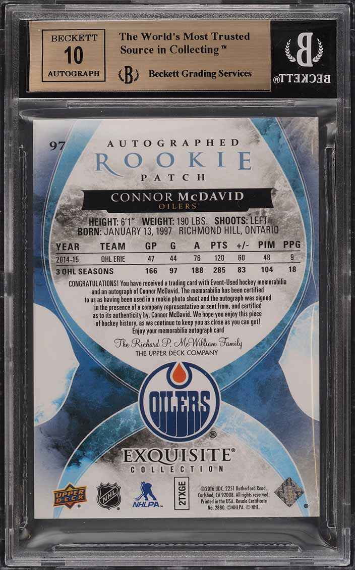 2015 Exquisite Collection Connor McDavid ROOKIE RC AUTO PATCH /97 BGS 9.5 (PWCC) - Image 2